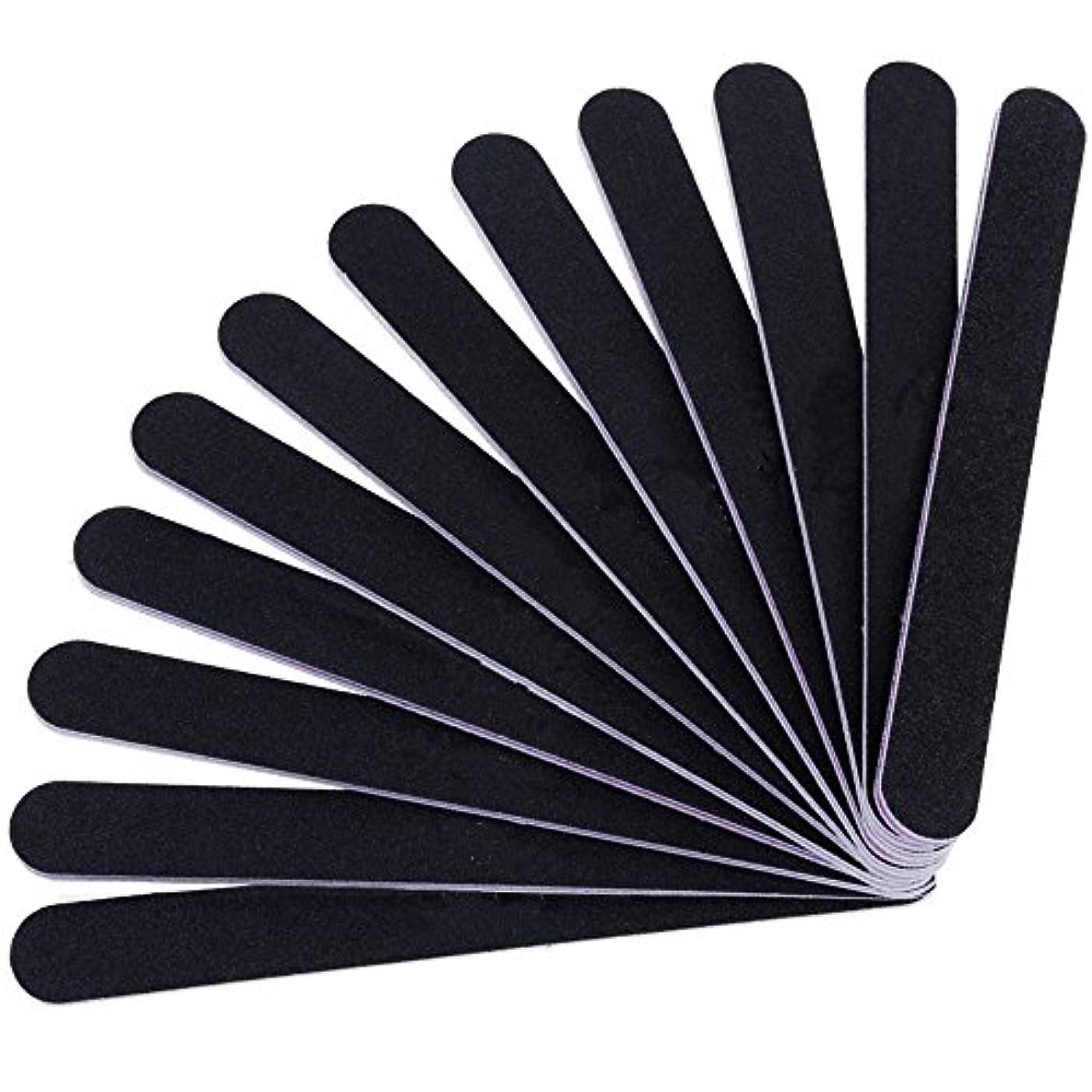 採用レンジ空中12本セット ネイルファイル ZILONG 爪磨き 爪やすり 両面タイプのエメリーボード 100/180グリット ネイルやすり お手入れ ブラック