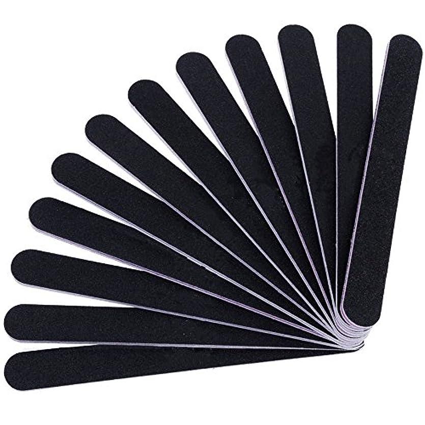 12本セット ネイルファイル ZILONG 爪磨き 爪やすり 両面タイプのエメリーボード 100/180グリット ネイルやすり お手入れ ブラック
