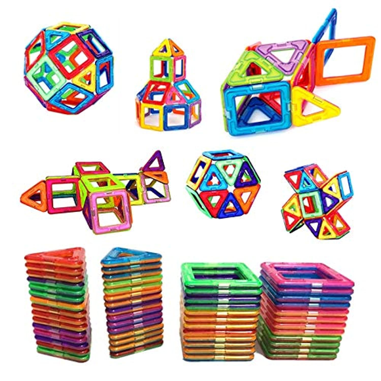 PPH3 Shine 54個 大きなサイズ マグネットビルディングブロック 三角形 レンガ デザイナー レンガ 磁気 おもちゃ ステッカー付き ギフト