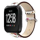 Kartice for Fitbit Versa高品質レザーバンド 最新型花柄レザー製交換ベルト おしゃれ腕時計バンド Fitbit Versa専用交換ストラップ (白+赤 花柄)