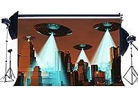 gladbuy 10x 8ft UFO Backdrop Skyscraper Unidentified FlyingオブジェクトNew York City Shiningライトクリエイティブ壁紙ビニール写真背景for Kids Baby Portraits Photo Studio Props kx92