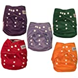 Adenous Nursery Pocket Cloth Nappies - Diaper - Reusable,Washable, Nappies, One Size Adjustable, Soft 5 Pack with Microfiber