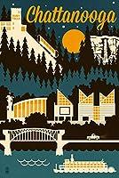 チャタヌーガ–レトロSkyline 16 x 24 Signed Art Print LANT-56051-709