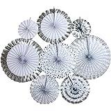 IPALMAY シルバー ペーパーファン 多種類模様 吊るすもの 紙製 飾り物 室内 パーティー 日常生活 24個3セット