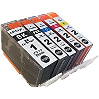 キャノン (Canon) PIXUS MX7600/PIXUS iX7000 対応 PGI-1BK/PGI-2 (PGBK/C/M/Y) 互換インクカートリッジ5色セット ≪ベルカラー≫