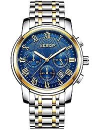 Aesop 腕時計 メンズ オシャレ、腕時計ステンレススチール 紳士腕時計 めんず 人気 セイコー 腕時計 キネティック、クオーツ 腕時計 (ブルー)