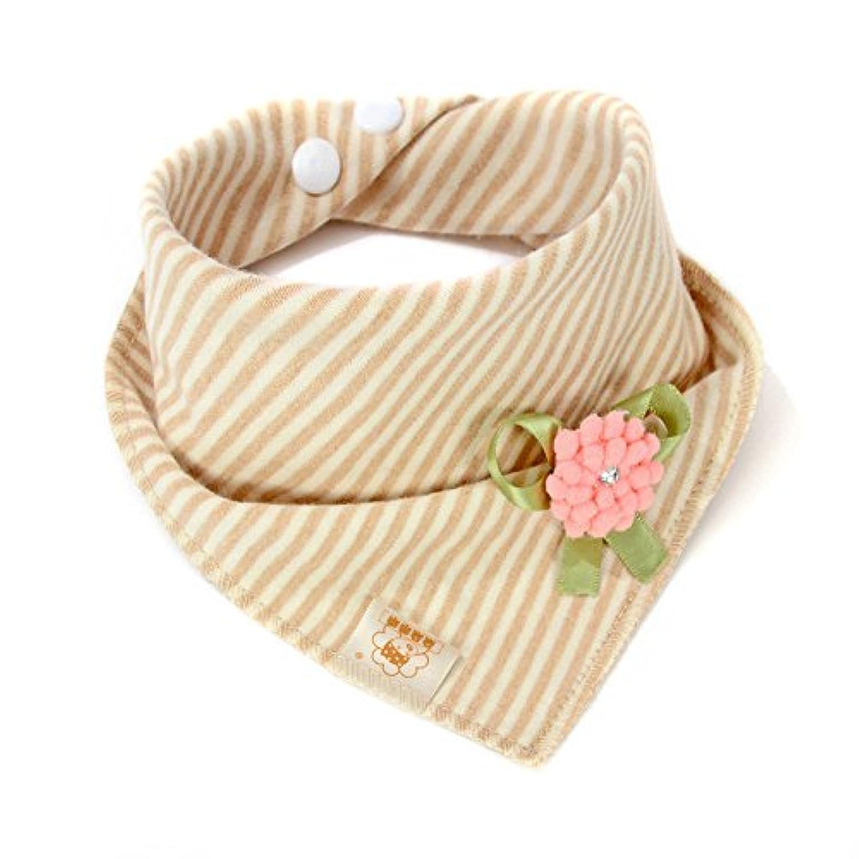 フラワー&ピンクbaby-girl-boys-kids-cotton-triangle-head-scarf-bandana-bibs-saliva-towel-dribble