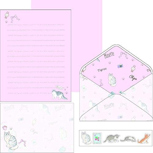 オレンジエアライン レターセット FASHIONABLE CAT ピンク LTS181