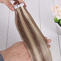FidgetGear 皮のよこ糸のブロンドの100%Remyの人間の毛髪延長16-26Inchの8A継ぎ目が無いテープ #ミックスカラー8/613