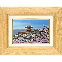 朝隈敏彦『清水寺に桜(SM号)』油彩画