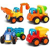 cclife Push and Go Friction Powered Carおもちゃ早期教育幼児赤ちゃんのおもちゃ1 – 3年古いトラクターブルドーザーMixer Truck and Dumper(4のセット)