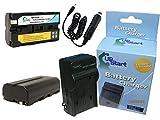 2xパック - Sony DCR-TV900 互換バッテリー + 充電器 + 車内アダプター : Sony NP-550 カメラ 対応バッテリー,充電器 (2200mAh, 7.2V, リチウムイオン)