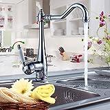 50%OFF Auralum キッチン洗面用 アンティーク混合水栓 手洗いボウル 手洗い鉢 蛇口 クラシック シングルレバー ロング水栓 取り付けホース付き