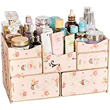 Cosmetic Storage Box Drawer Type Wooden Large Dressing Table Skin Care Rack Waterproof (Color : Pink)