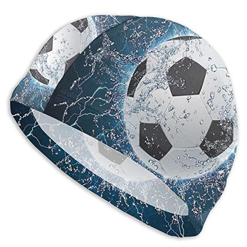 光の債務アラームクールなサッカープリントスイムキャップ スイミングキャップ 水泳キャップ 競泳 水泳帽 メンズ レディース 兼用 ゆったりサイズ フリーサイズ(28-33cm)