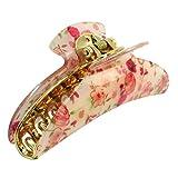uxcell バンスクリップ ヘアクリップ ヘアピン 花柄デザイン フラワー ピンク花 赤い花 ベージュ