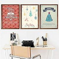 壁アートクリスマスツリーキャンバス絵画北欧ポスター印刷画像用リビングルーム家の装飾-50×70センチ×3ピースフレームなし