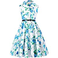 GRACE KARIN Girls Retro Sleeveless Swing Dresses with Belt CL9000-482