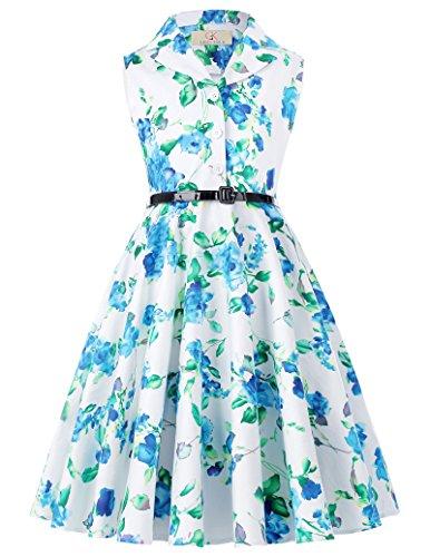 8362eec7341aa ガールズ 春 レトロ 袖なし 花柄 ラペルカラー コットン ワンピース ドレス 6  145cm