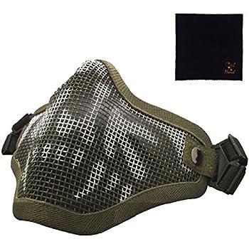 [キャット ハンド] フェイスマスク ハーフメッシュマスク サバゲー サバイバルゲーム エアガン 曇らない 2バンド 式 フェイスガード ハーフマスク マスク (グリーン/スカル柄)