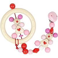出産祝い ベビーギフト granpapa(グランパパ) 木のラトル と おもちゃホルダー ギフトセット ピンク