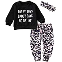 Moore-Direct Newborn Kids Baby Girls Sorry Boys Daddy SAYS NO Dating Top T-Shirt Leopard Pants+Headband Autumn Outfit Set