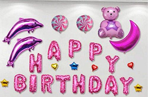 しあわせ倉庫 バースデー バルーン セット 風船 誕生日 パーティ ベビー お祝い 装飾 飾り付け (イルカ ピンク)