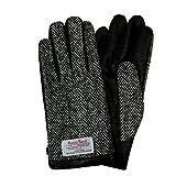 ハリスツイード スマホ手袋 手袋 メンズ レディース レザー グローブ / ヘリンボーン / グレー / M
