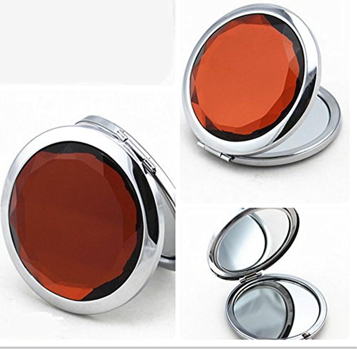 セーター上陸昼食SHINA 宝石飾りのコンパクトミラー クリスタル調化粧鏡拡大鏡付き 丸型の折りたたみ鏡 化粧箱入りミラー 手鏡 おしゃれの小物 (mirror-1-F)