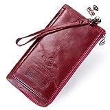 Zhanying 女性の の財布第一層牛革RFID耐磁性レジャークラッチ