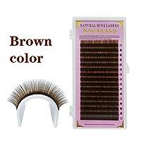 NAGARAKU 16列褐色ブラウン色まつげエクステ個人用のまつげミンクMinkマツエク、ソフトとナチュラル(0.07 B 13mm)