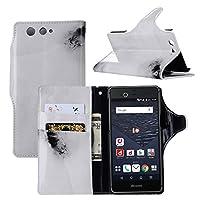 【LIHOULAI】NTT ドコモ arrows Be F-05J専用保護ケース PUレザー保護ケース 大理石紋 手帳型 超軽量 カード収納ポケット付き スタンド可能 (ホワイト)
