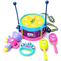 Gotian 5個/セット キッズ ベビー ロール ドラム 楽器 バンドキット 子供 おもちゃ ギフト プラスチック