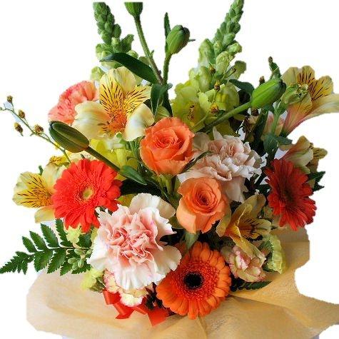 おまかせ季節のアレンジメント(オレンジ系)「花の産地千葉県館山(フラワーギフト里の花)から発送」