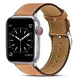 BRG コンパチブル Apple Watch バンドアップグレードバージョン 本革 ビジネススタイル コンパチブル アップルウォッチバンド コンパチブル Apple Watch 6/5/4/3/2/1/SE(42mm/44mm,ブラウン)