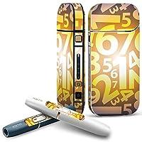 IQOS 2.4 plus 専用スキンシール COMPLETE アイコス 全面セット サイド ボタン デコ ユニーク 数字 黄色 イエロー ブルー 模様 008186