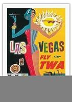 ラスベガス、ネバダ州 - TWA (トランス・ワールド航空)で飛ぶ - ビンテージな航空会社のポスター によって作成された デイヴィッド・クライン c.1958 - 美しいポスターアート