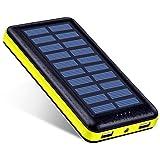 Antun 超大容量22400mAh モバイルバッテリー ソーラーチャージャー ソーラーバッテリー 2USB出力ポート 太陽光で充電 おしゃれなデザイン 地震/災害時/ 旅行/出張などの必携品(イエロー)