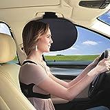 自動車の車窓遮光ネットWANPOOL 自動車ルーフ内蔵のアームレスト遮光ネット 自動車サイドウィンド遮光カバー 太陽光のグレアを減らし、主に子供と大人に向いてデザインされています - 銀色