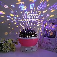 赤ちゃんナイトライトムーンスタープロジェクターデスクランプUSB再充電可能なクリエイティブギフト,pink-birthday