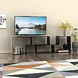 DEVAISE テレビ台 テレビボード テレビラック ローボード AVボード コーナーテレビ台 伸縮テレビ台 2点セット 木製 ボード厚さ 15mm 耐荷重25KG ブラック