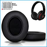 Upgraded Beats Replacement Ear Pads by Wicked Cushions - Compatible with Studio 2.0 Wired/Wireless and Studio 3 Over Ear Headphones by Dr. Dre ONLY (Does NOT FIT Solo) (Black)