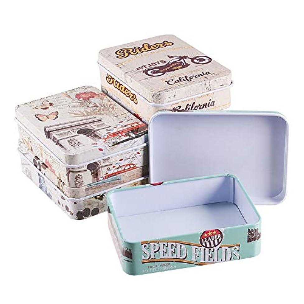 ポーン外側財産BENECREAT 6個セットブリキ缶 収納ケース 9x6.5cm長方形 欧米風図案 ジュエリーパーツ 名刺 雑貨入れ 小物収納ボックス