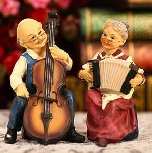 ハンドメイド インテリア 置き物 仲良く演奏する 老人夫婦