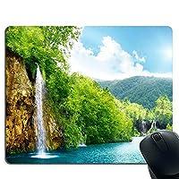 滝 水の山の森林 グリーン 青, 空・マウスパッド・ゲーミングマウスパッド・ノンスリップマウスパッド ・した ゲーミングマウスパッド PC ラップトップ オフィス用 長方形マウスパッド