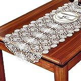 QY 白 レース フラワーズ テーブルフラグ ランナー タッセル ボヘミアンスタイル 結婚式 ビーチ パーティー デコレーション (Color : White, Size : 50*180cm)