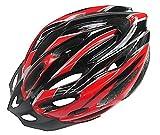 R-STYLE ロードバイクやスケボーに 軽量・サイズ調整付 流線型カラフル ヘルメット (レッド×ブラック)