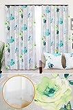【おしゃれ 花柄 カーテン】 ドイツのデザイナーズカーテン 2枚 と ミラーレース2枚 の 4枚セット 形状記憶加工 2級遮光 カメリアSET-ブルーグレー 幅100x丈195cm 4枚組