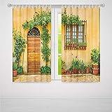 YOLIYANA ウィンドウカーテン イタリア リビングルーム 寝室 カーテン 狭いパヴェ 街の古い家 セルランガ ダルバ ピードモント装飾 79W X 62L Inches Z-02_03_069683