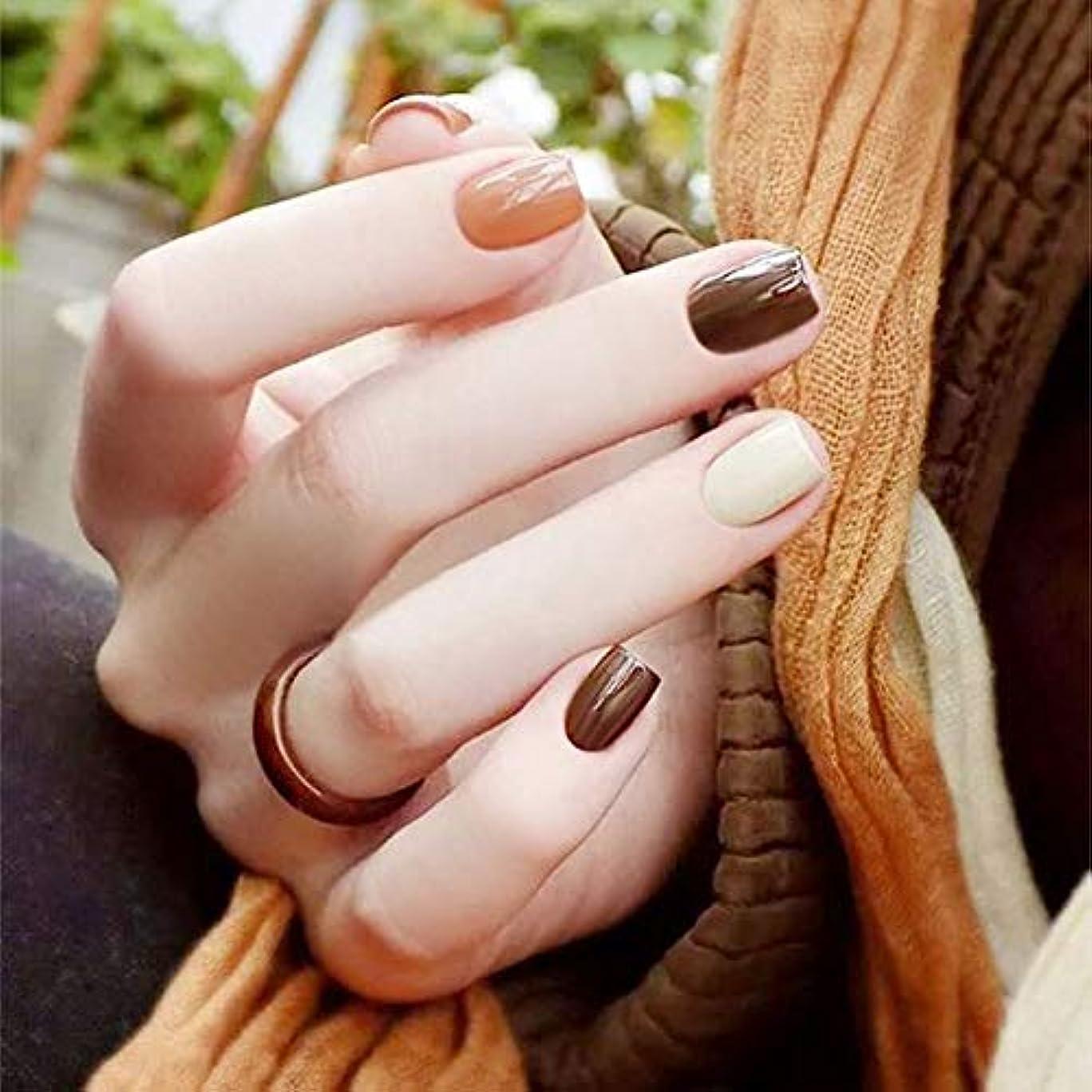 契約したケープヘビ短いさネイルチップ 無地 ネイルチップ 方の頭 多色マッチング 美しい かわいい 手作りネイルチップ 24枚入 (T7)